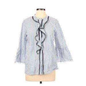 Karl Lagerfeld White Striped Button Up Blouse L